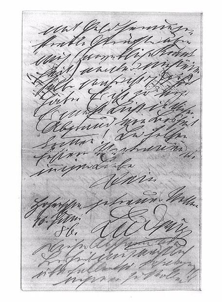 Der letzte handschriftliche Brief Ludwigs II. vom 10. Juni 1886.
